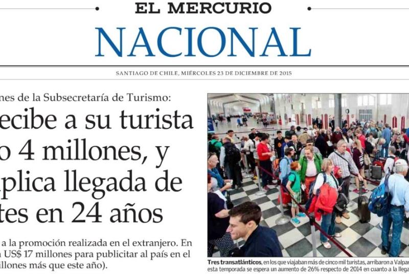 Chile recibe a su turista número 4 millones y cuadruplica llegada de visitantes en 24 años