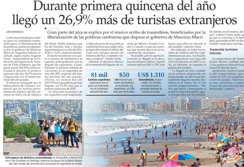 Durante primera quincena del año llegó un 26,9% más de turistas extranjeros